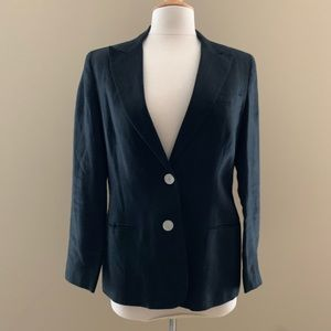 Ralph Lauren Linen 2-Button Black Blazer Size 10